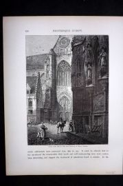 Picturesque Europe 1870s Antique Print. Hotel de Ville, Louvain, Belgium
